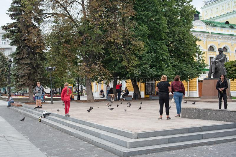Nizhny Novgorod, Russia, - July 17, 2019 Pedestrian street in the old center. T. Ourists and citizens walk around the city, editorial, people, person, walking royalty free stock images