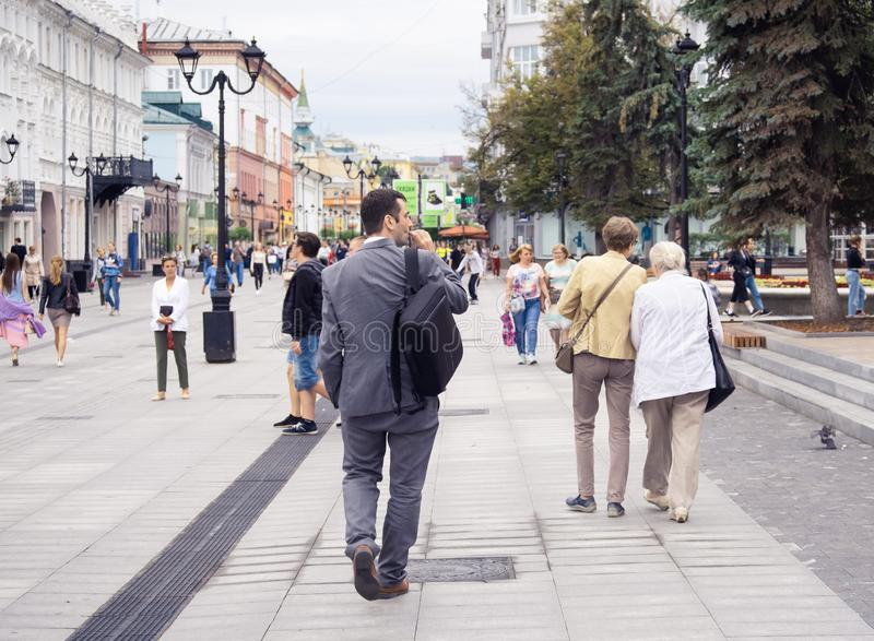 Nizhny Novgorod, Russia, - July 17, 2019 Pedestrian street in the old center. T. Ourists and citizens walk around the city, editorial, people, person, walking stock photo
