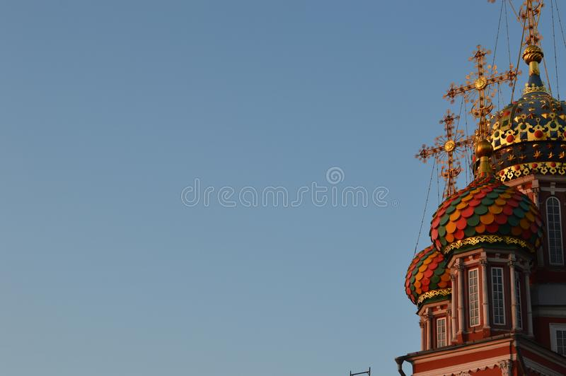 Smolensk church in the rays of red sunset. Russia. Summer stock photography