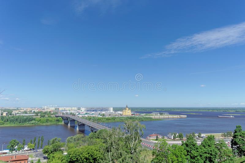 Nizhny Novgorod, Russia. - June 21.2018. View of the Canavin bridge from the high bank of the Oka River. On the day of the Argenti stock photos
