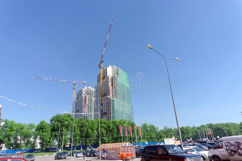 Nizhny Novgorod, Russia. - May 26.2016. Unfinished residential complex Atlant City on the street Rodionova near the mall Fantastic.  royalty free stock images
