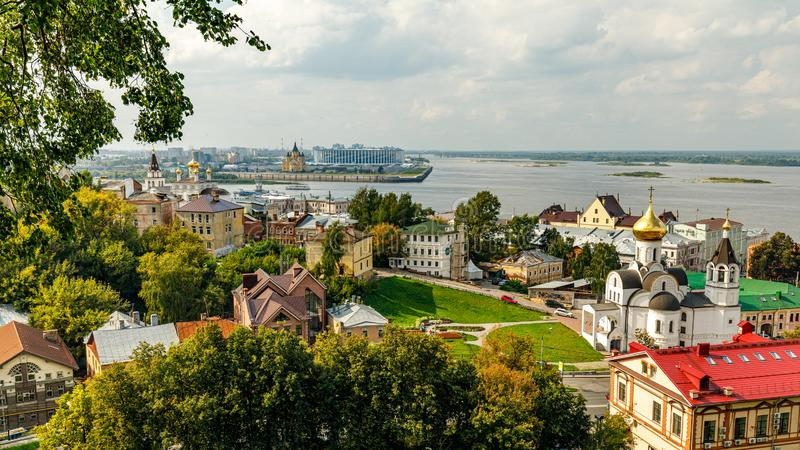 Panoramic view of Nizhny Novgorod. The confluence of the Oka and Volga rivers. The historical part of the city. Nizhny Novgorod, Russia. Panoramic view of royalty free stock photo