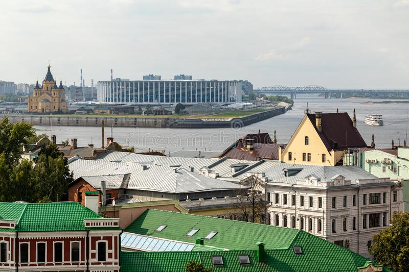 Panoramic view of Nizhny Novgorod. The confluence of the Oka and Volga rivers. The historical part of the city. Nizhny Novgorod, Russia. Panoramic view of stock images