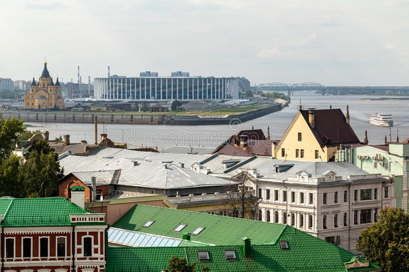 Panoramic view of Nizhny Novgorod. The confluence of the Oka and Volga rivers. The historical part of the city. Nizhny Novgorod, Russia. Panoramic view of royalty free stock images