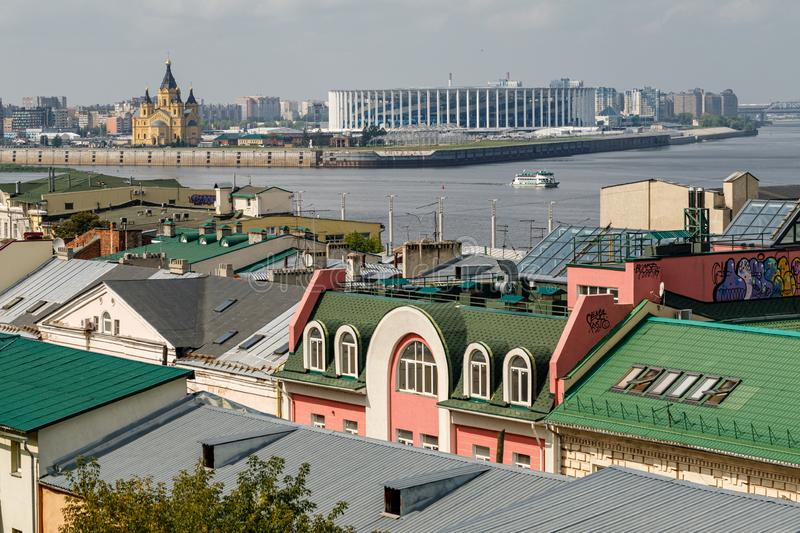 Panoramic view of Nizhny Novgorod. The confluence of the Oka and Volga rivers. The historical part of the city. Nizhny Novgorod, Russia. Panoramic view of stock photos