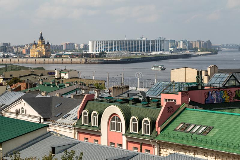 Panoramic view of Nizhny Novgorod. The confluence of the Oka and Volga rivers. The historical part of the city. Nizhny Novgorod, Russia. Panoramic view of stock photo