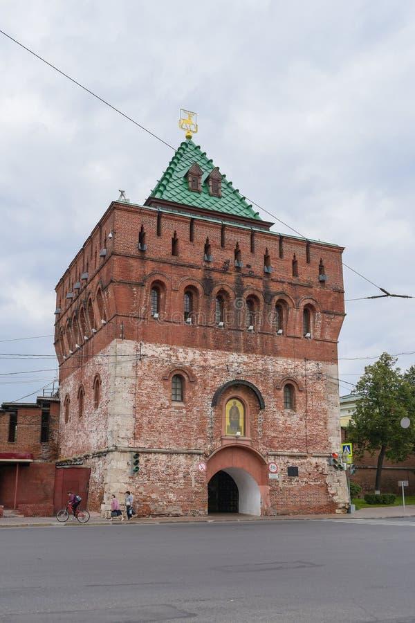 Nizhny Novgorod, Russia - September 4, 2018: Dmitrievskaya tower of the Nizhniy Novgorod Kremlin royalty free stock photography