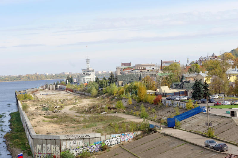 Nizhny Novgorod, Russia. - September 30.2016. View of the abandoned construction site for alteration embankments of the. River Oka royalty free stock image