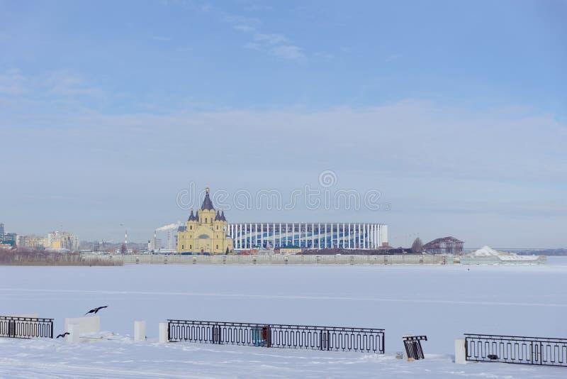 Nizhny Novgorod, Russie - 23 mars 2018 Construction du stade dans Nijni-Novgorod à la coupe du monde de la FIFA 2018 photos libres de droits