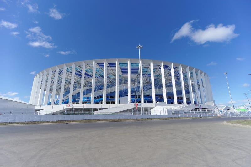 Nizhny Novgorod, Russland - 10. Mai 2018 Bau des Stadions in Nischni Nowgorod zur Fußball-Weltmeisterschaft 2018 stockbilder