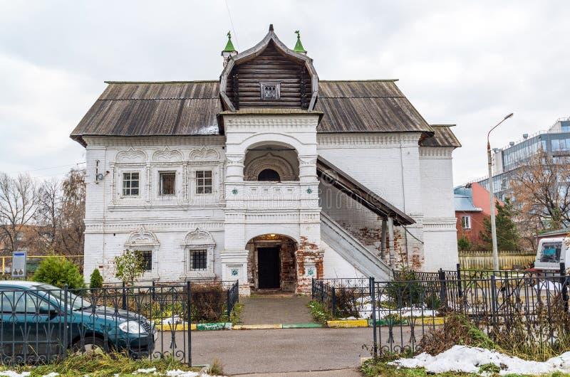 Nizhny Novgorod Ryssland -02 11 2015 Hus av köpmannen Olisova som byggs i XVII århundradet, gränsmärke royaltyfri fotografi