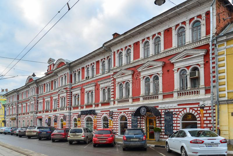 Nizhny Novgorod RYSSLAND - November 02 2015 arkitektonisk monument - byggnad av partnerskap för Maskin-byggnad produktion - royaltyfri fotografi