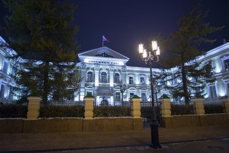 Nizhny Novgorod Ryssland - November 1 2015 Den forntida byggnaden av tingsrätten på den Bolshaya Pokrovka gatan arkivbilder