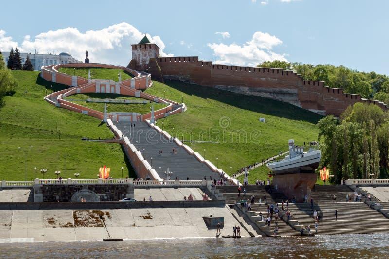 Nizhny Novgorod Sikt av den historiska delen av staden från Voen arkivbild