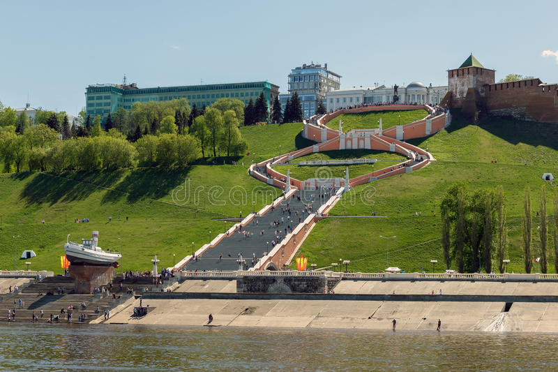 Nizhny Novgorod. View of the Chkalov Stairs from the Volga River royalty free stock photos