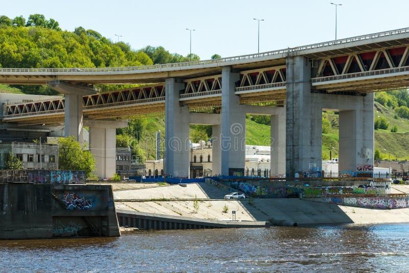 Download Nizhny Novgorod. View Of The Concrete Support Of Metro Bridge From The Oka River Stock Photo - Image: 83714045