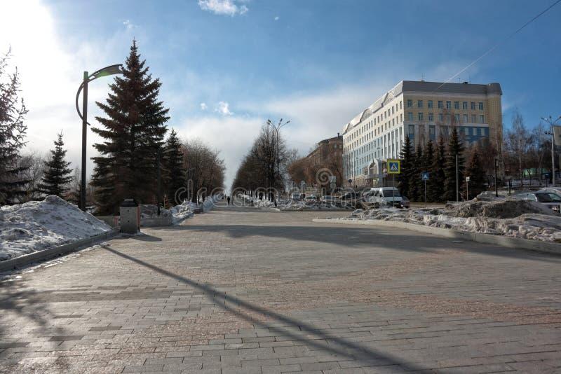 Nizhny Tagil, Rosja Fotografia widok od miasto stawu bulwaru zdjęcia royalty free