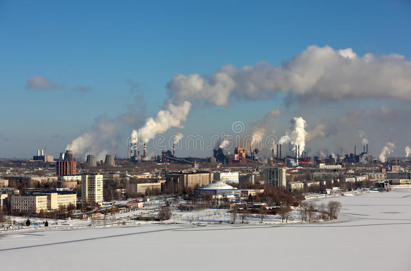 NIZHNY TAGIL, SVERDLOVSK region, RUSSIA-NOVEMBER 09, 2015: Fotografia widok Nizhny Tagil z Fox górą obraz stock