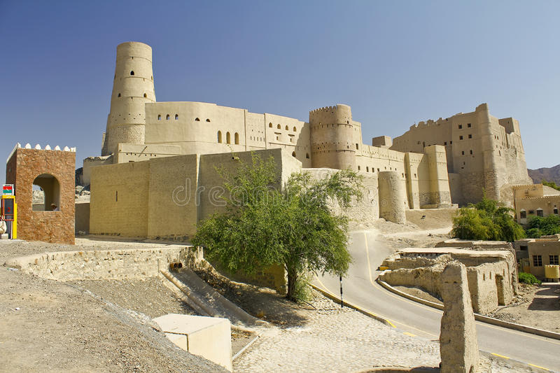 Nizwa Bahla fort w reklamie Dakhiliya, Oman obrazy stock