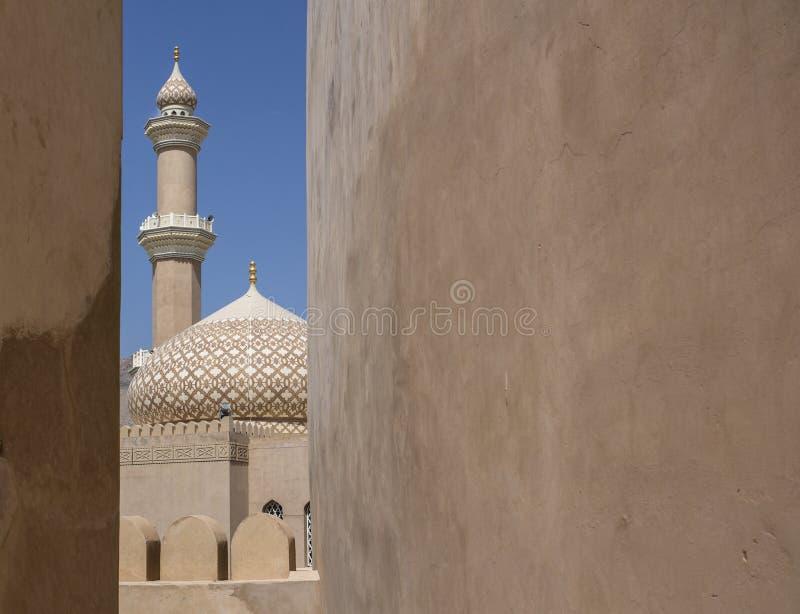 Nizwa castle mosque royalty free stock photo