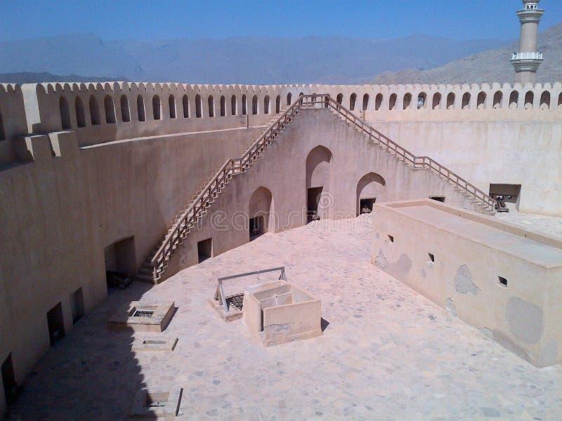 Nizwa fort från inre arkivbild