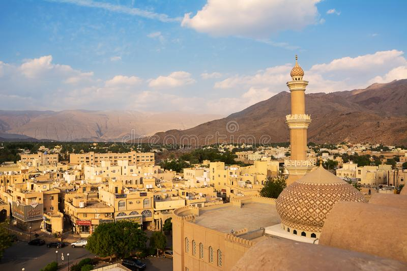 Detail of the minaret of the Nizwa mosque seen from above stock photos