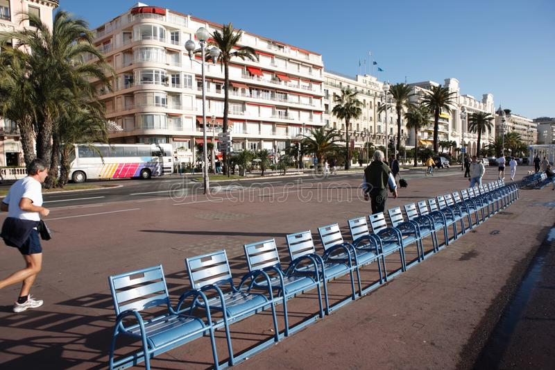Nizza, Francia - 10 novembre 2007: Promenade des Anglais fotografia stock