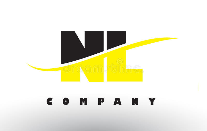 NL N L czerń i koloru żółtego Listowy logo z Swoosh ilustracji