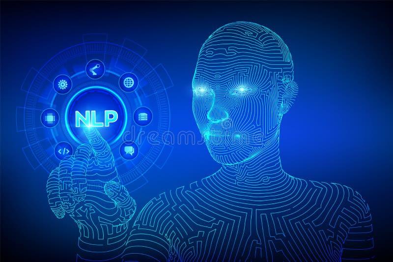 NLP Concepto cognoscitivo de la tecnología de ordenadores del proceso de lenguaje natural en la pantalla virtual Concepto de leng libre illustration