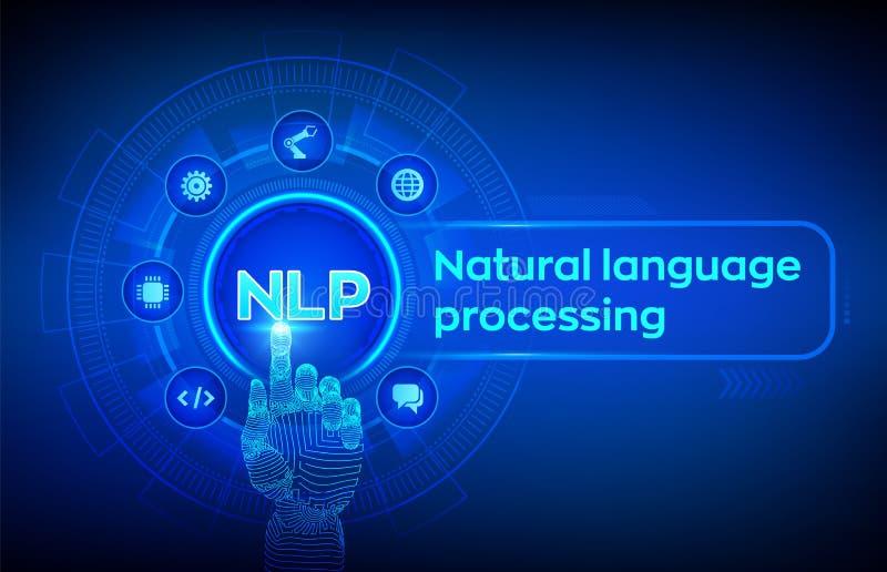 NLP Concepto cognoscitivo de la tecnología de ordenadores del proceso de lenguaje natural en la pantalla virtual Concepto de leng stock de ilustración
