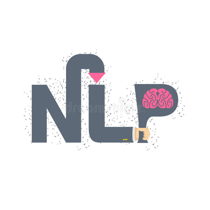 NLP logo and emblem. Hand holding a letter with brain. Vector il stock illustration
