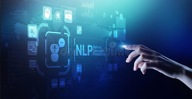 NLP natural language processing cognitive computing technology concept on virtual screen. NLP natural language processing cognitive computing technology concept stock image