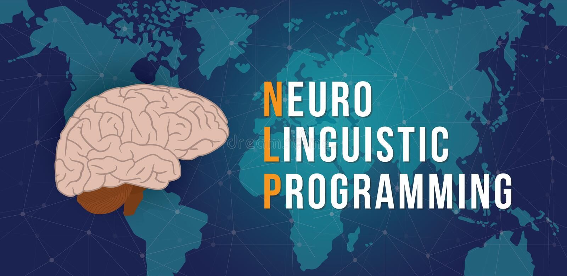 Nlp - neuro językoznawczego programowania pojęcie z światowej mapy i cyberprzestrzeni tłem - wektor ilustracji
