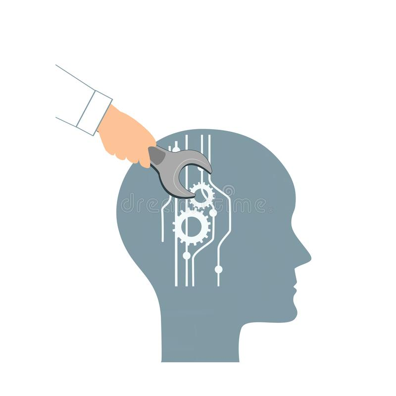 NLP or Neuro-Linguistic Programming concept. Open Human Head and a Hand with a Wrench. Manipulation, Mental health. Personal development, and psychotherapy vector illustration
