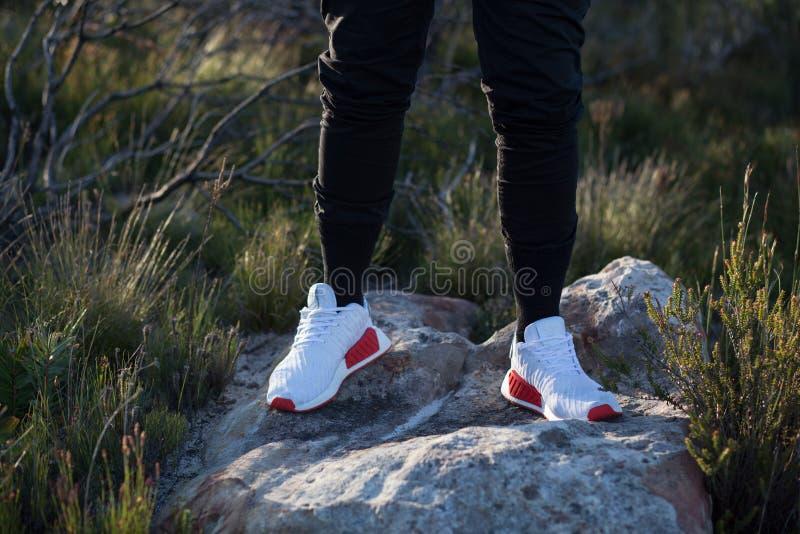 NMD bianco e rosso Adidas fotografie stock