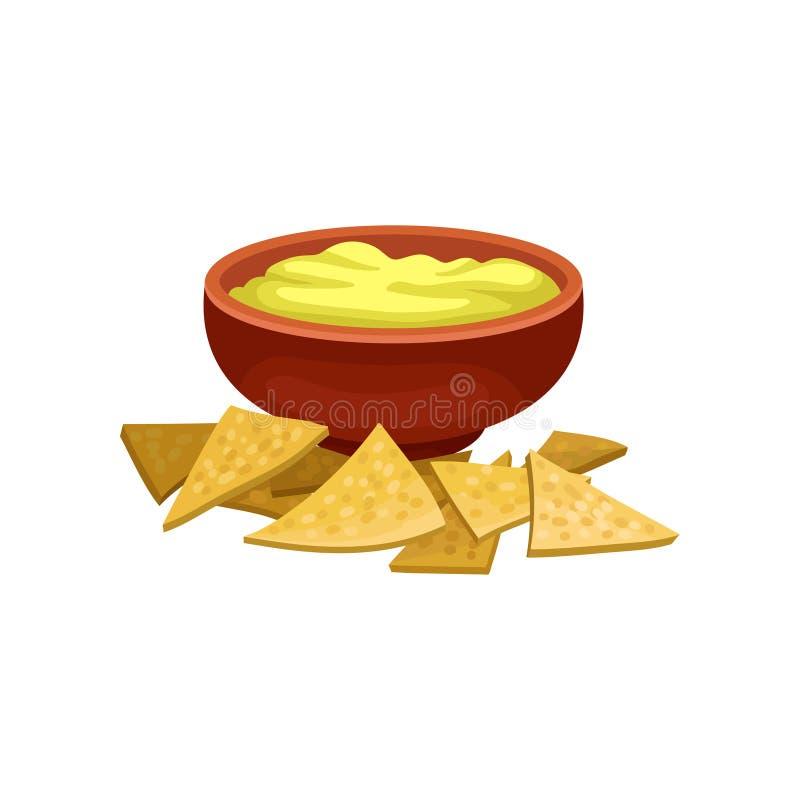 Nnachos och ostsås i brun keramisk bunke Traditionellt mexicanskt mellanmål Plan vektorbeståndsdel för reklamblad- eller kafémeny stock illustrationer
