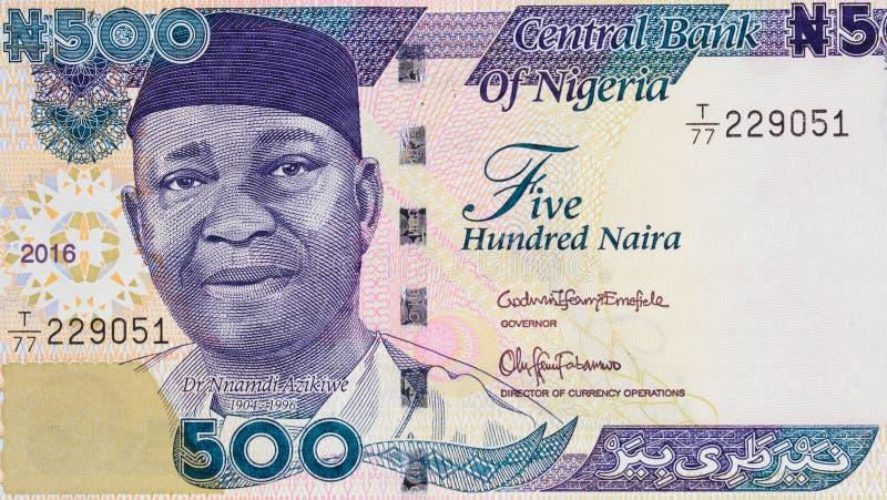 Nnamdi Azikiwe-portret op Nigeria het bankbiljet CLO van 500 naira 2016 stock foto