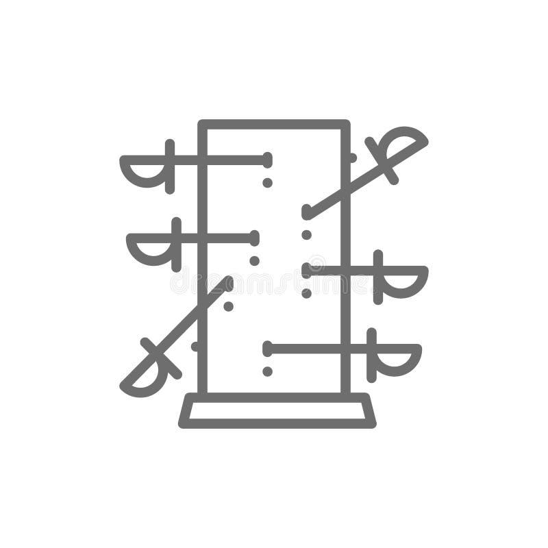 Nożowa miotanie deska, magii kreskowa ikona ilustracji