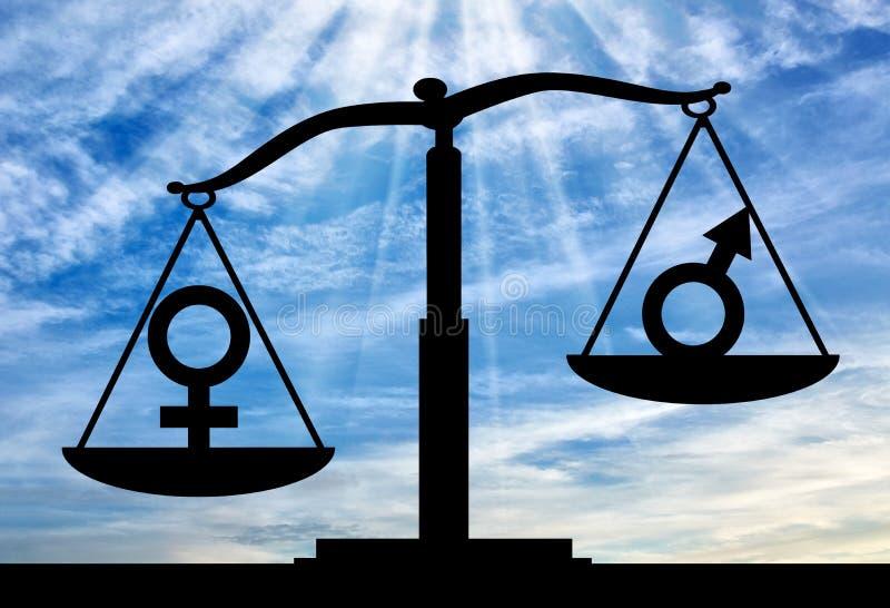 Noção da superioridade das mulheres sobre homens imagens de stock