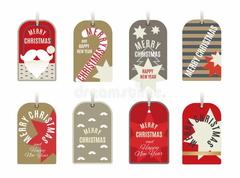 Noël étiquette la collection avec les étoiles, la canne de sucrerie, la boule, les rayures, la moustache et les souhaits de nouve illustration stock