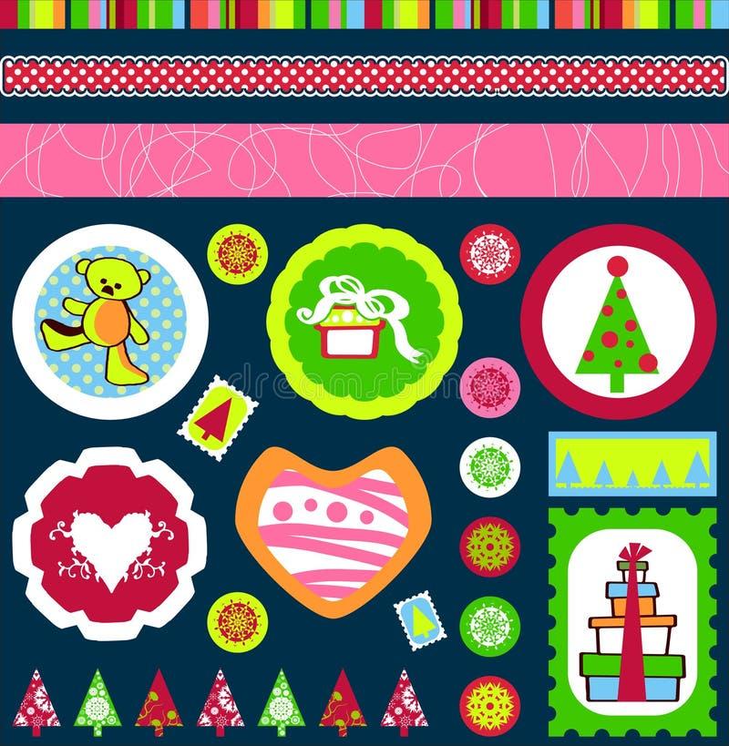 Noël étiquette le vecteur illustration stock