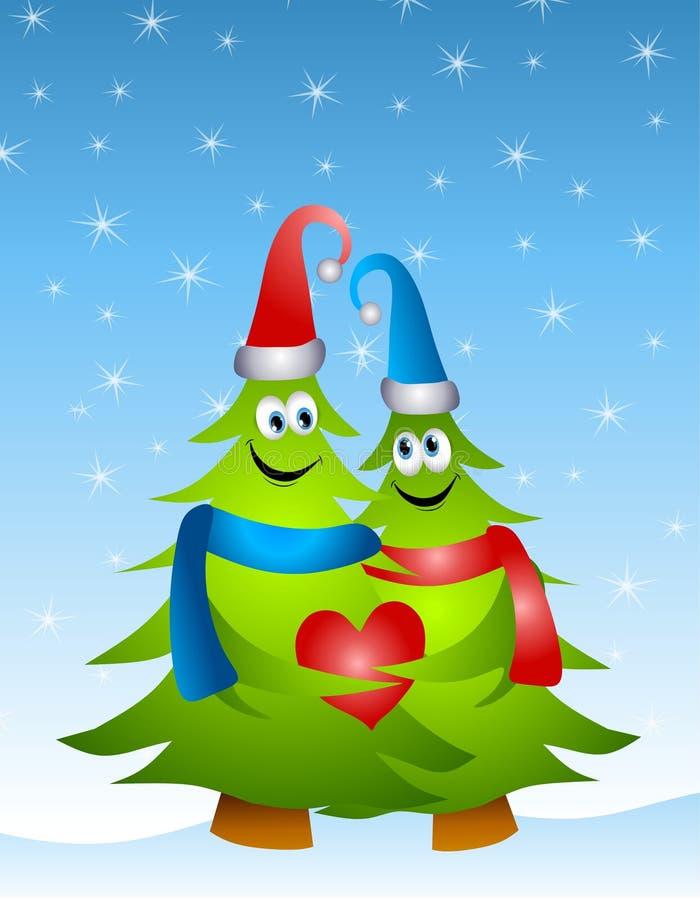 Noël étreignant des arbres d'amour illustration libre de droits
