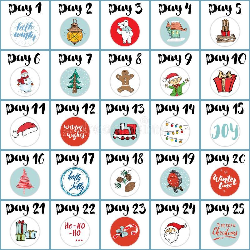 Noël Advent Calendar Éléments et nombres tirés par la main Les vacances d'hiver classent des cartes scénographie, illustration de illustration stock