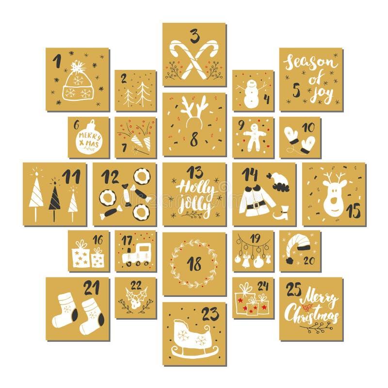 Noël Advent Calendar Éléments et nombres tirés par la main Les vacances d'hiver classent des cartes scénographie, illustration de illustration libre de droits