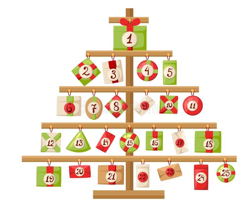 Noël Advent Calendar avec le calendrier d'avènement de Santa Claus, de renne, de bonhomme de neige et de cadeau avec l'affiche d' illustration stock