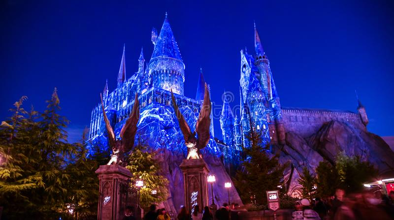 Noël allumé à l'école de Hogwarts photographie stock libre de droits