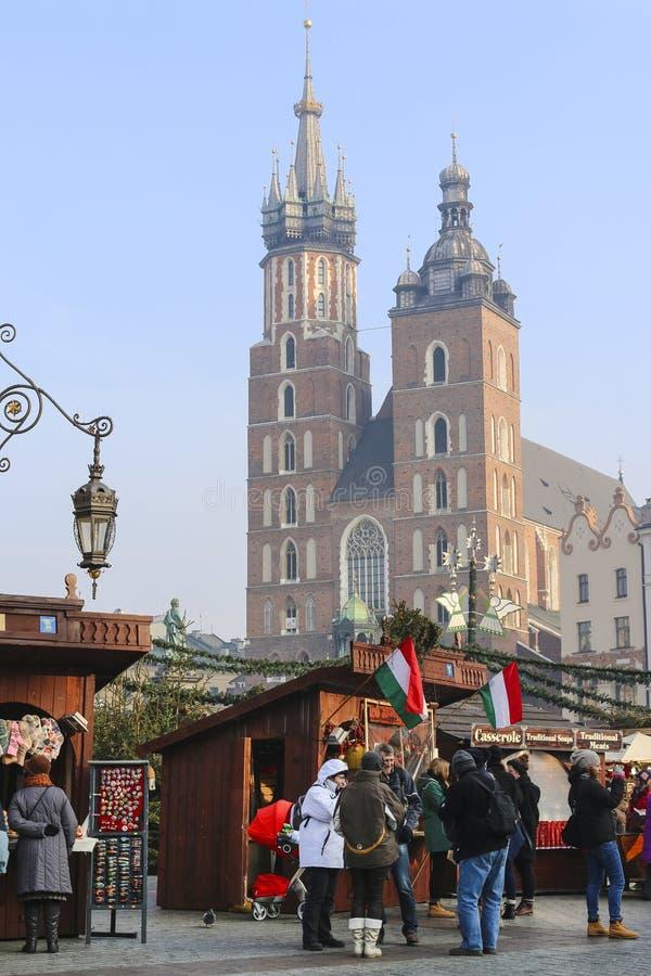 Noël annuel juste à la place principale du marché Cracovie, Pologne images stock