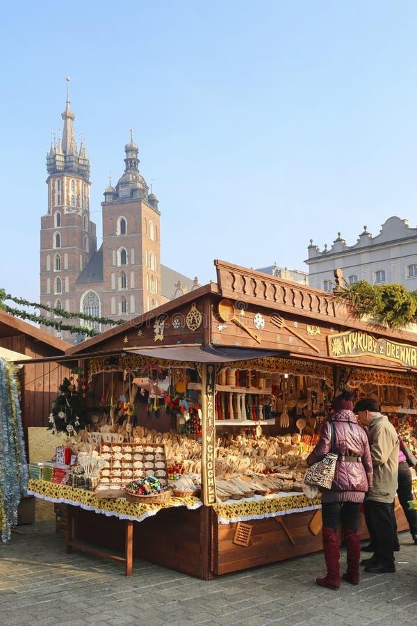 Noël annuel juste à la place principale du marché Cracovie, Pologne image libre de droits