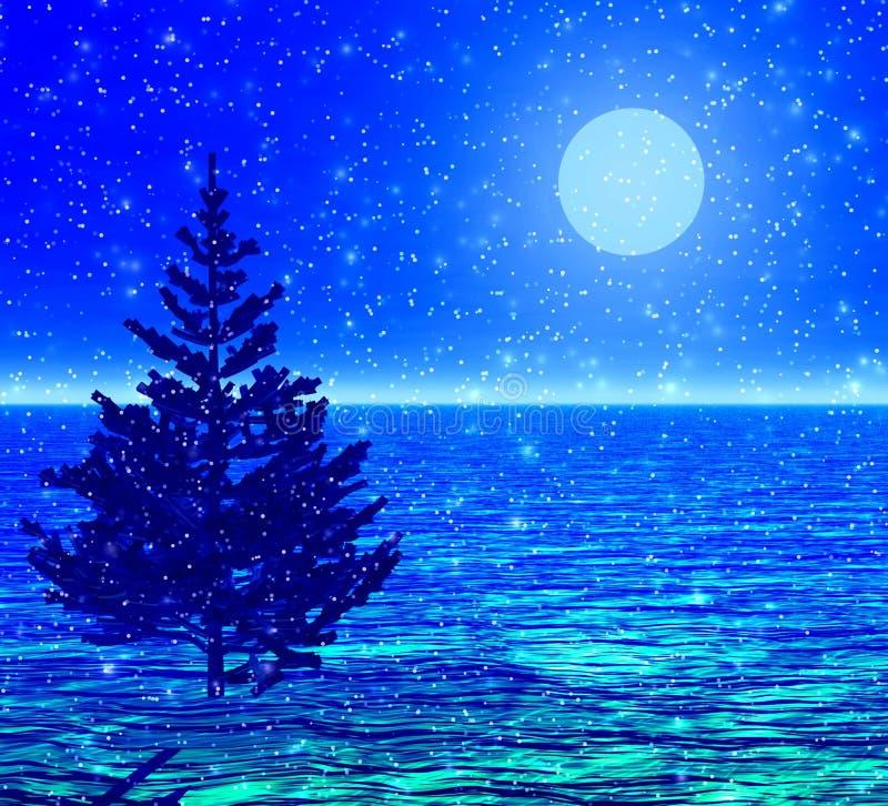 Noël-arbre dans une neige. illustration de vecteur
