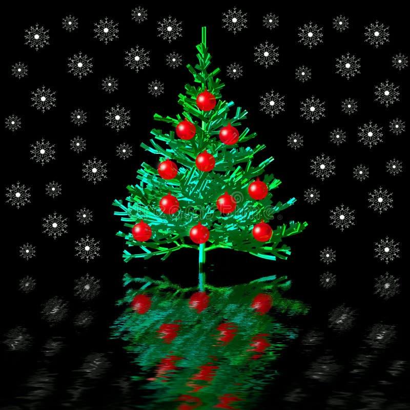 Noël-arbre et neige illustration libre de droits